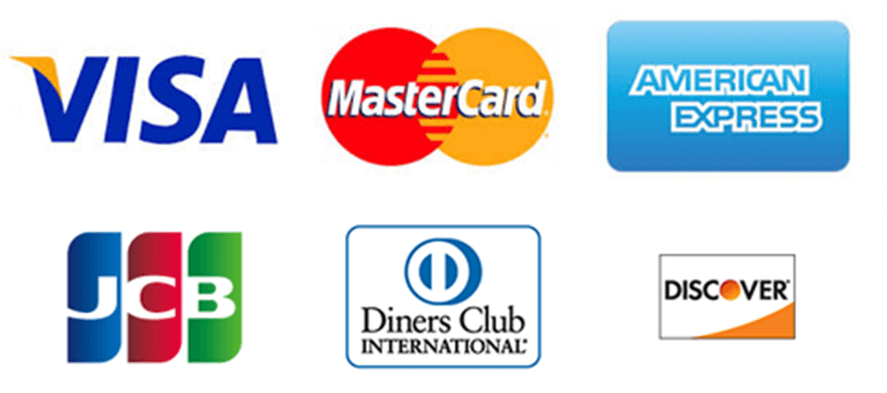 VISA,MasterCard,AMERICAN EXORESS,JCB,DinersClub,DISCOVER